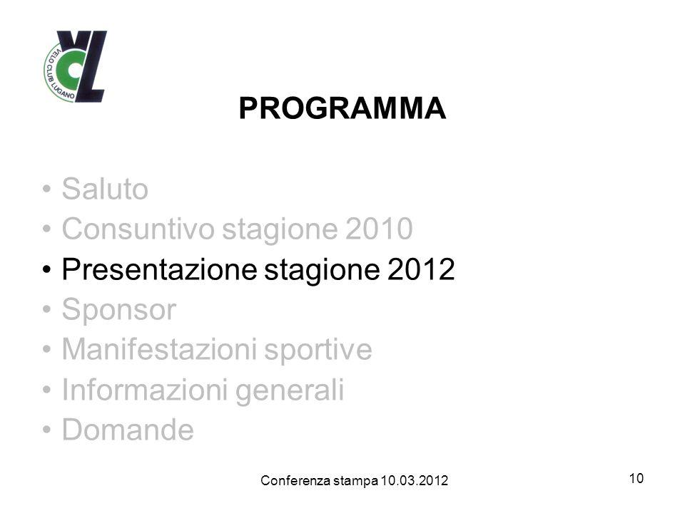 Presentazione stagione 2012 Sponsor Manifestazioni sportive