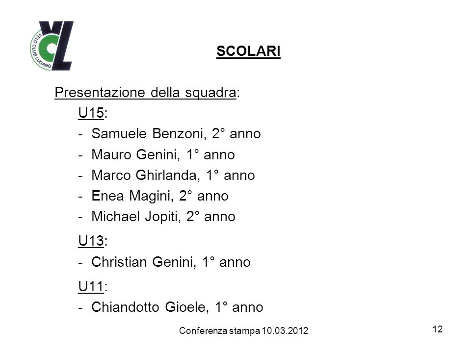 Presentazione della squadra: U15: Samuele Benzoni, 2° anno