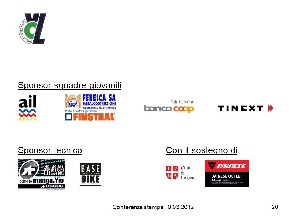 Sponsor squadre giovanili Sponsor tecnico Con il sostegno di