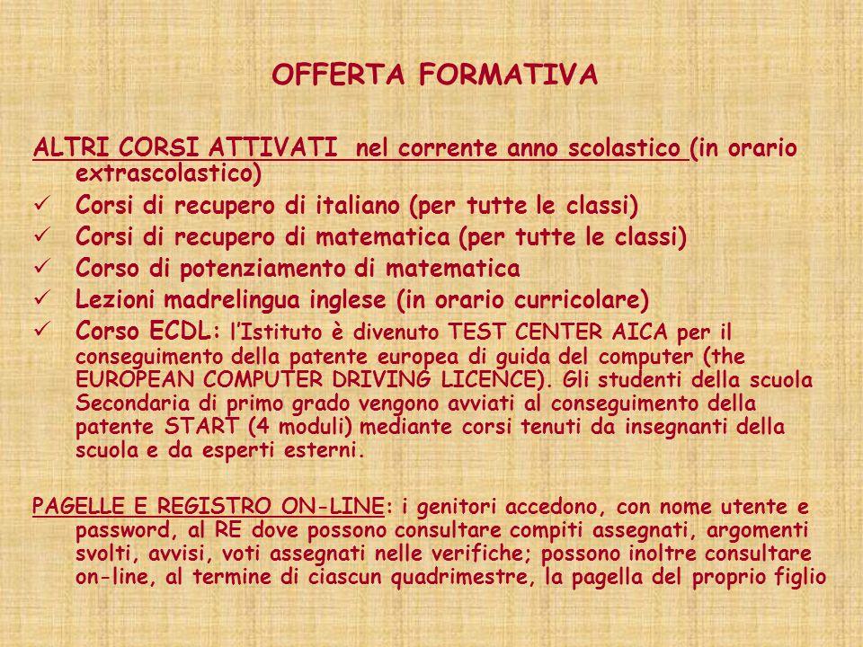 OFFERTA FORMATIVA ALTRI CORSI ATTIVATI nel corrente anno scolastico (in orario extrascolastico) Corsi di recupero di italiano (per tutte le classi)