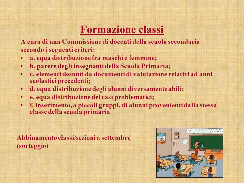 Formazione classi A cura di una Commissione di docenti della scuola secondaria. secondo i seguenti criteri: