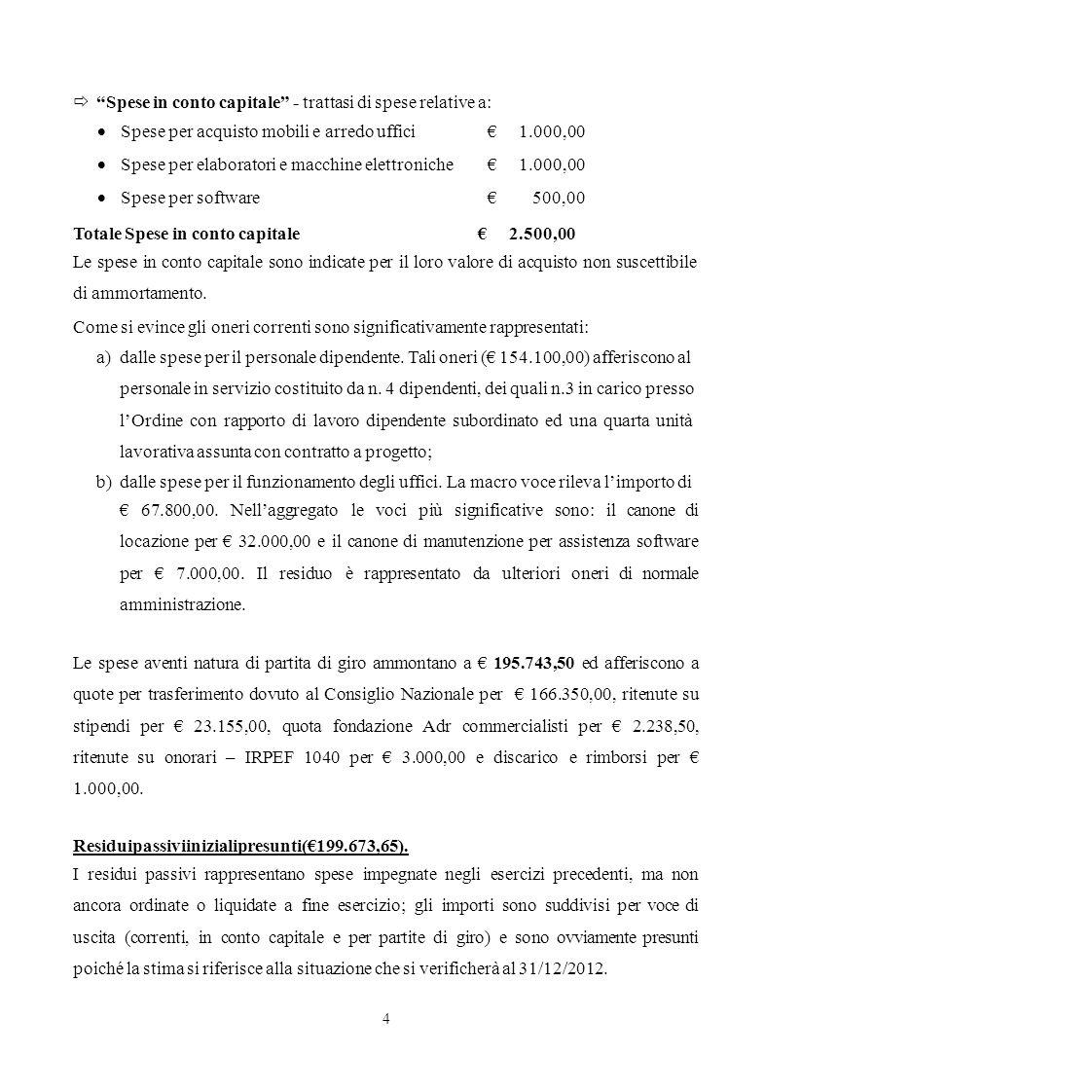  Spese in conto capitale - trattasi di spese relative a: 