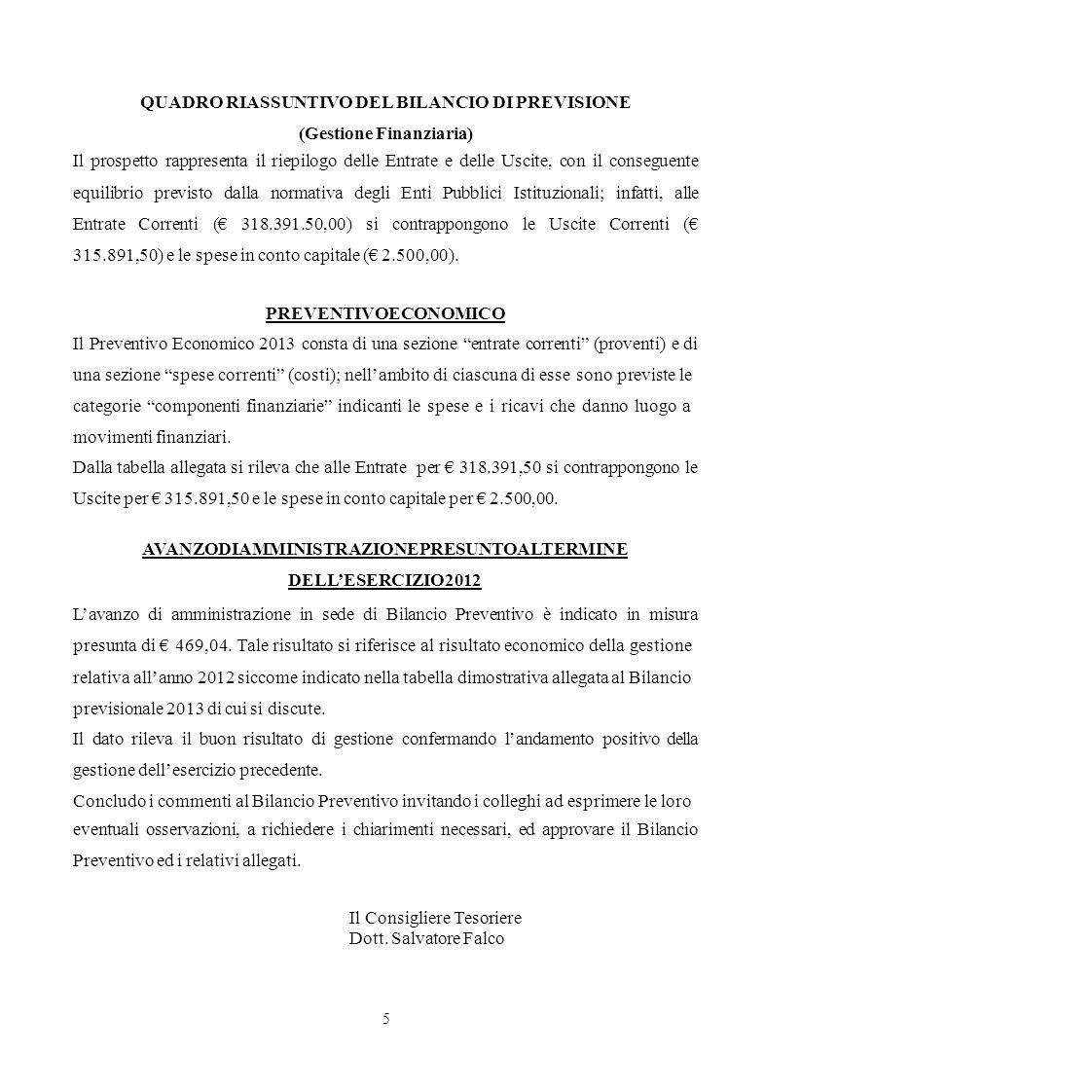 QUADRO RIASSUNTIVO DEL BILANCIO DI PREVISIONE (Gestione Finanziaria)