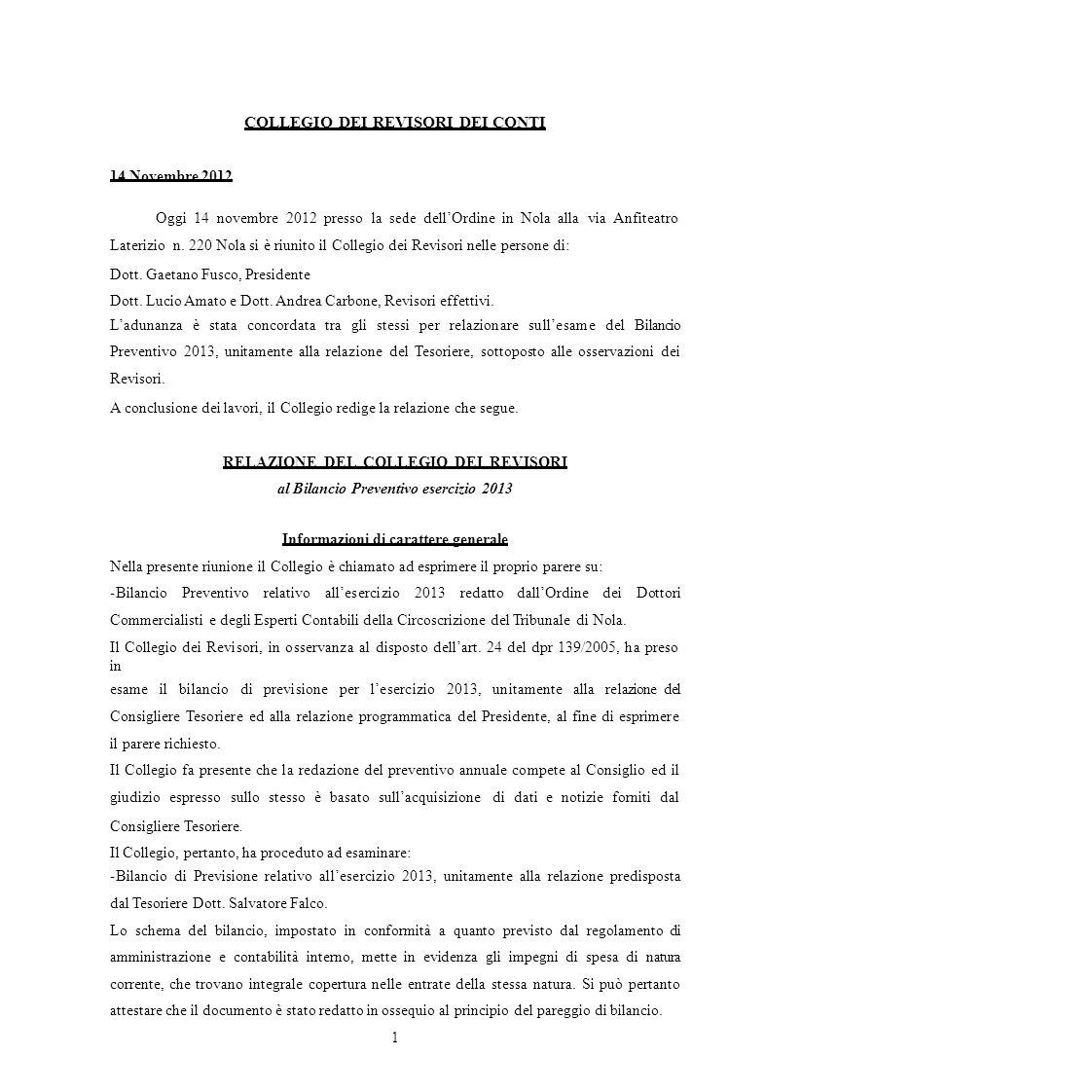 COLLEGIO DEI REVISORI DEI CONTI