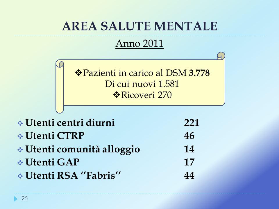 Pazienti in carico al DSM 3.778