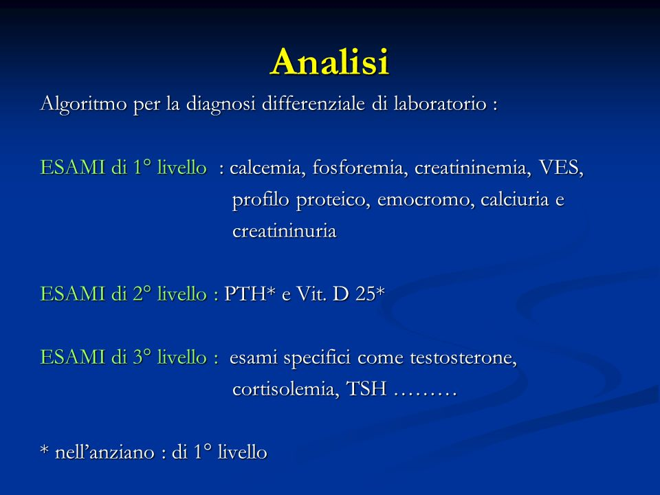 Analisi Algoritmo per la diagnosi differenziale di laboratorio :