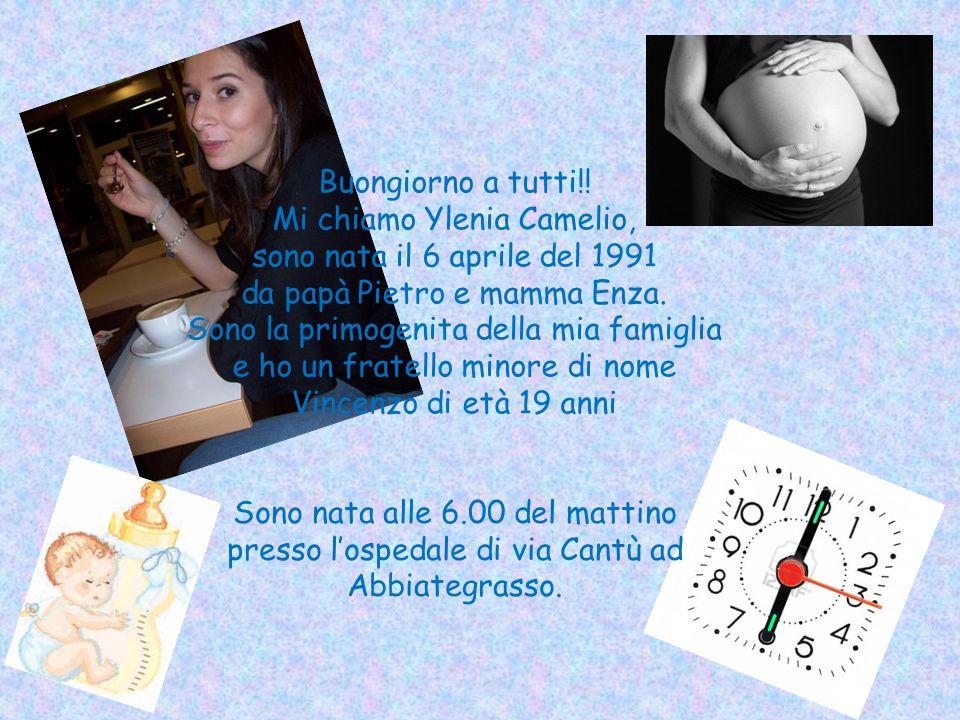 Buongiorno a tutti!! Mi chiamo Ylenia Camelio, sono nata il 6 aprile del 1991 da papà Pietro e mamma Enza. Sono la primogenita della mia famiglia e ho un fratello minore di nome Vincenzo di età 19 anni