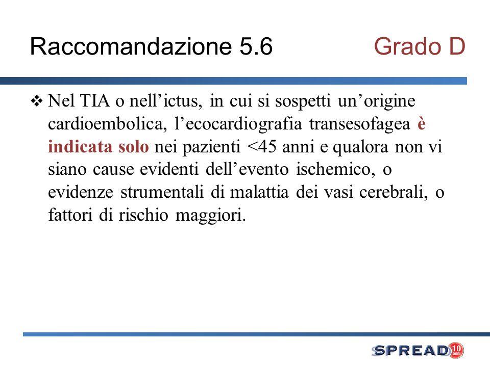 Raccomandazione 5.6 Grado D