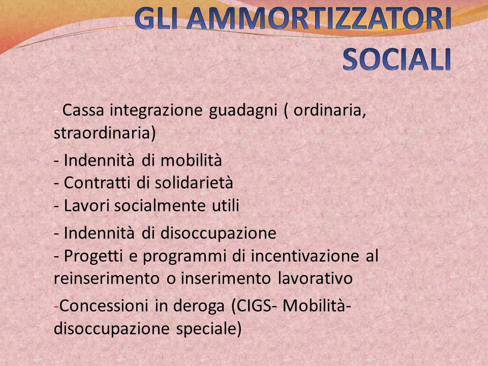 GLI AMMORTIZZATORI SOCIALI