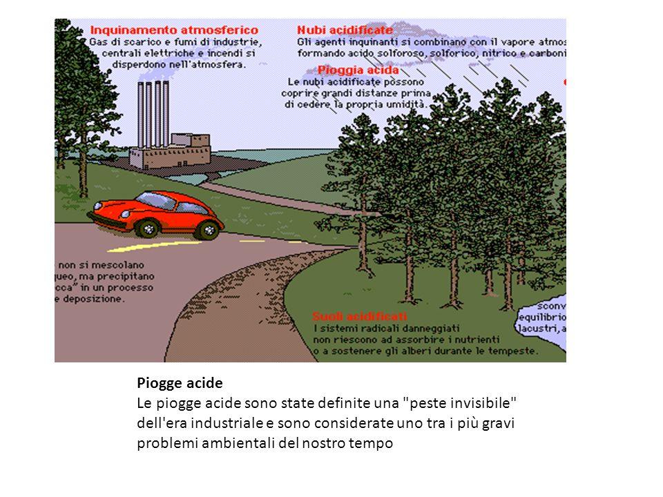 Piogge acide Le piogge acide sono state definite una peste invisibile dell era industriale e sono considerate uno tra i più gravi problemi ambientali del nostro tempo