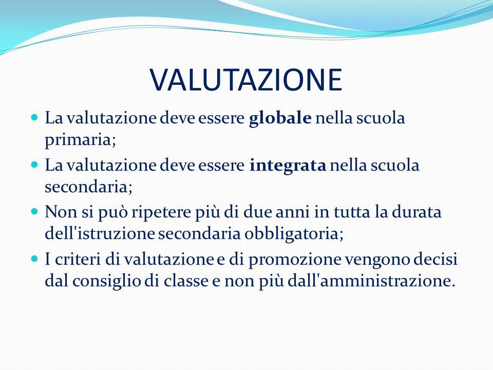 VALUTAZIONE La valutazione deve essere globale nella scuola primaria;