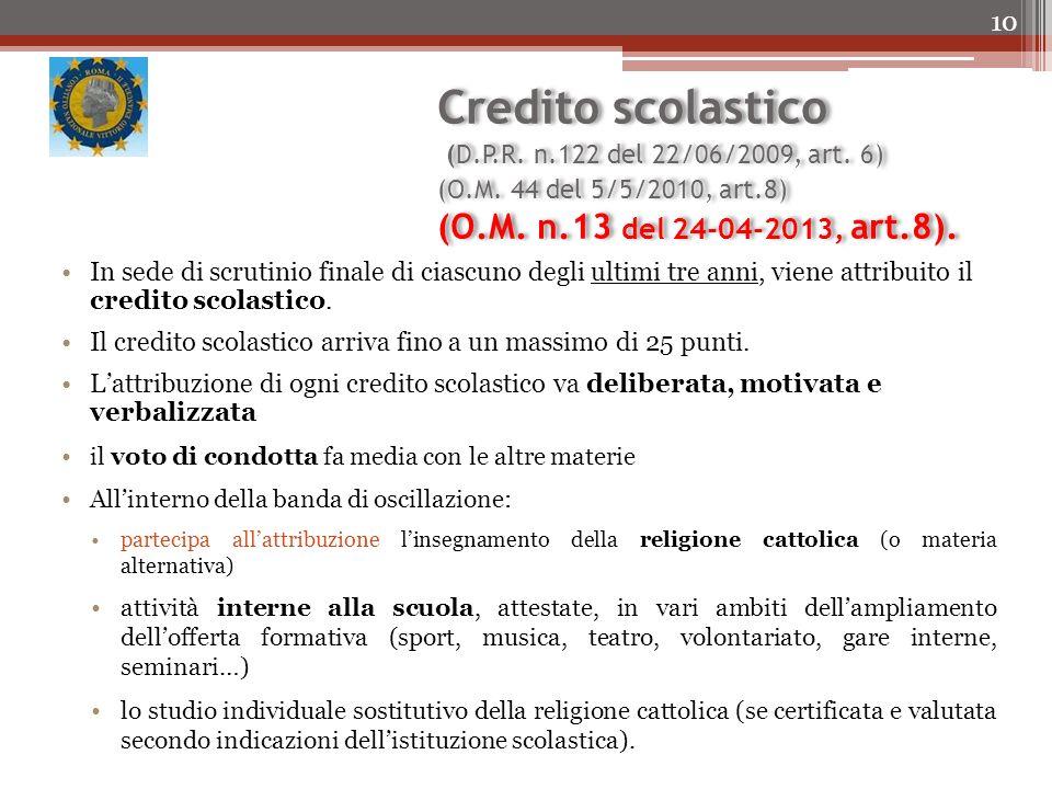 Credito scolastico (D. P. R. n. 122 del 22/06/2009, art. 6) (O. M