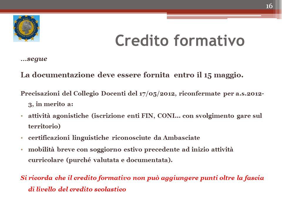 Credito formativo …segue. La documentazione deve essere fornita entro il 15 maggio.