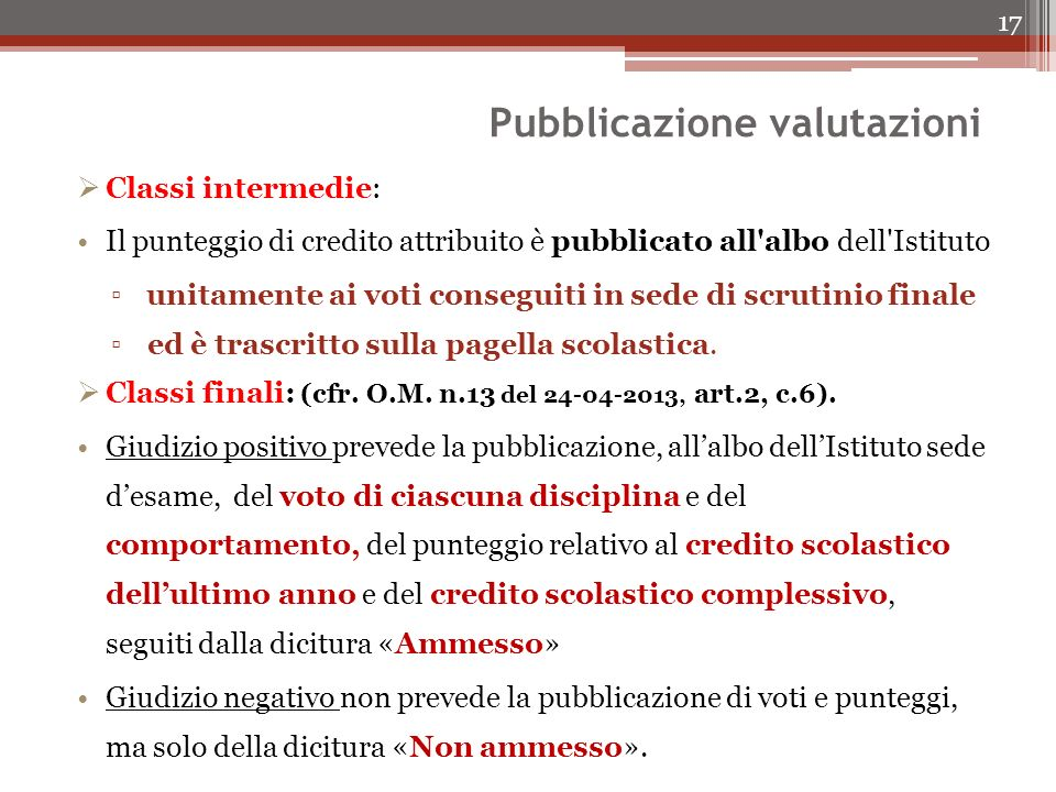 Pubblicazione valutazioni