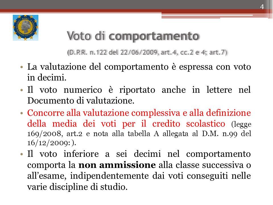 Voto di comportamento (D. P. R. n. 122 del 22/06/2009, art. 4, cc
