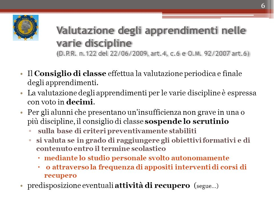 Valutazione degli apprendimenti nelle varie discipline (D. P. R. n