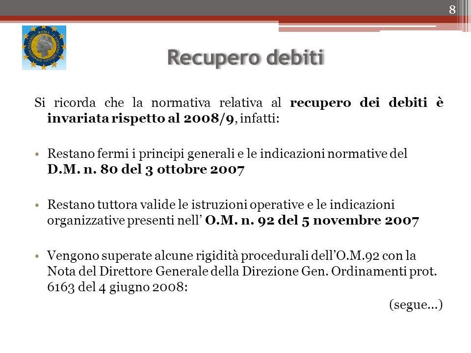 Recupero debiti Si ricorda che la normativa relativa al recupero dei debiti è invariata rispetto al 2008/9, infatti: