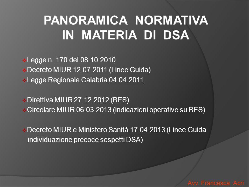 PANORAMICA NORMATIVA IN MATERIA DI DSA