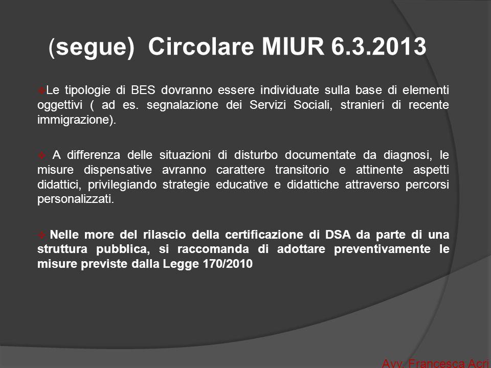 (segue) Circolare MIUR 6.3.2013