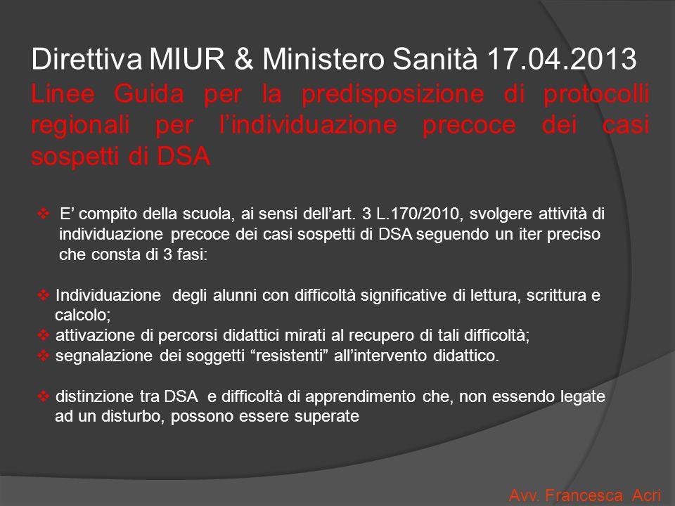 Direttiva MIUR & Ministero Sanità 17.04.2013