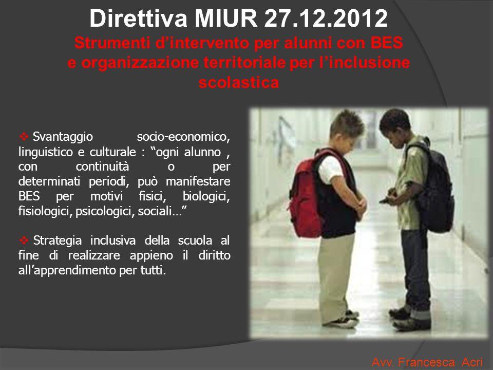 Direttiva MIUR 27.12.2012 Strumenti d'intervento per alunni con BES