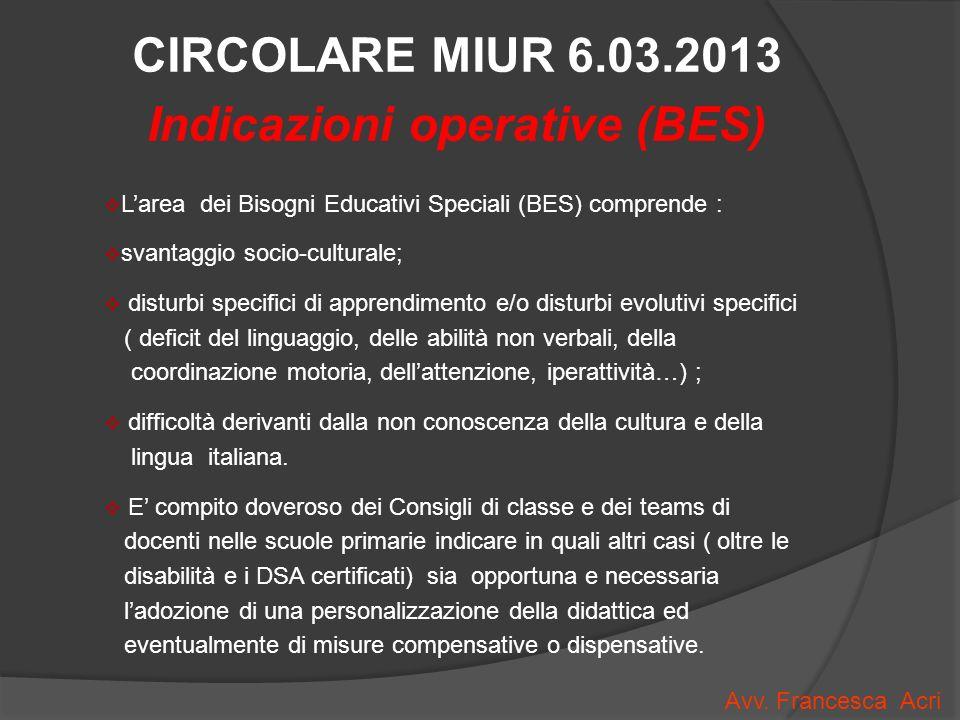 Indicazioni operative (BES)