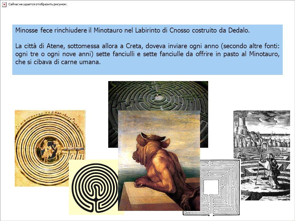 Minosse fece rinchiudere il Minotauro nel Labirinto di Cnosso costruito da Dedalo.
