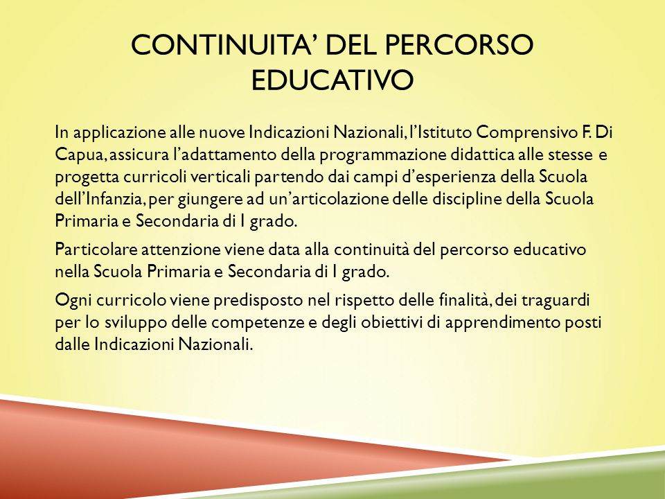 CONTINUITA' DEL PERCORSO EDUCATIVO