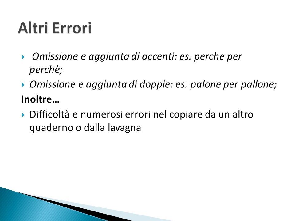 Altri Errori Omissione e aggiunta di accenti: es. perche per perchè;