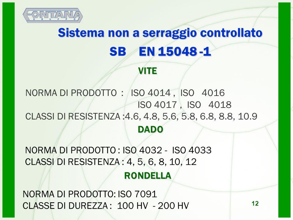 Sistema non a serraggio controllato SB EN 15048 -1