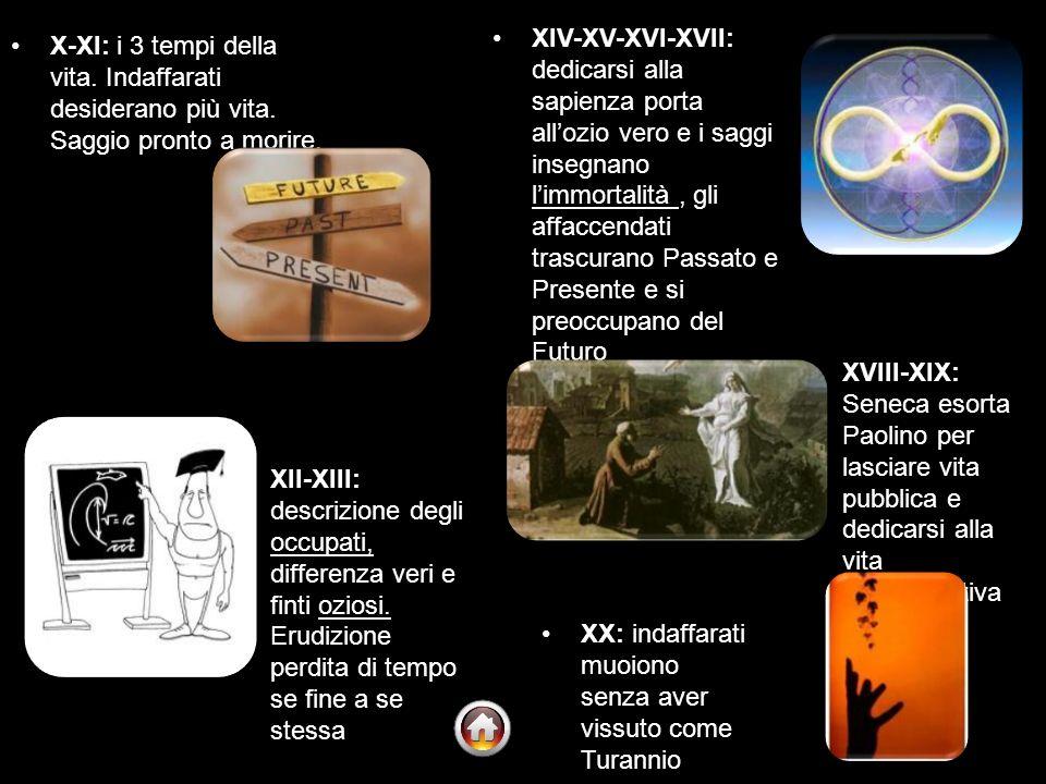 XIV-XV-XVI-XVII: dedicarsi alla sapienza porta all'ozio vero e i saggi insegnano l'immortalità , gli affaccendati trascurano Passato e Presente e si preoccupano del Futuro