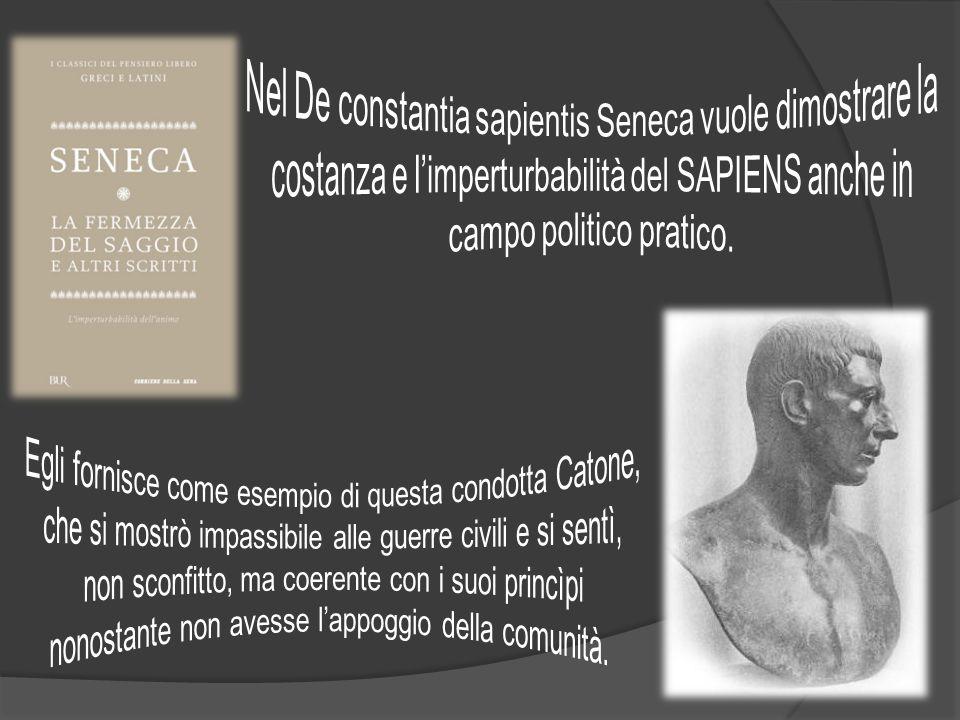 Nel De constantia sapientis Seneca vuole dimostrare la costanza e l'imperturbabilità del SAPIENS anche in campo politico pratico.