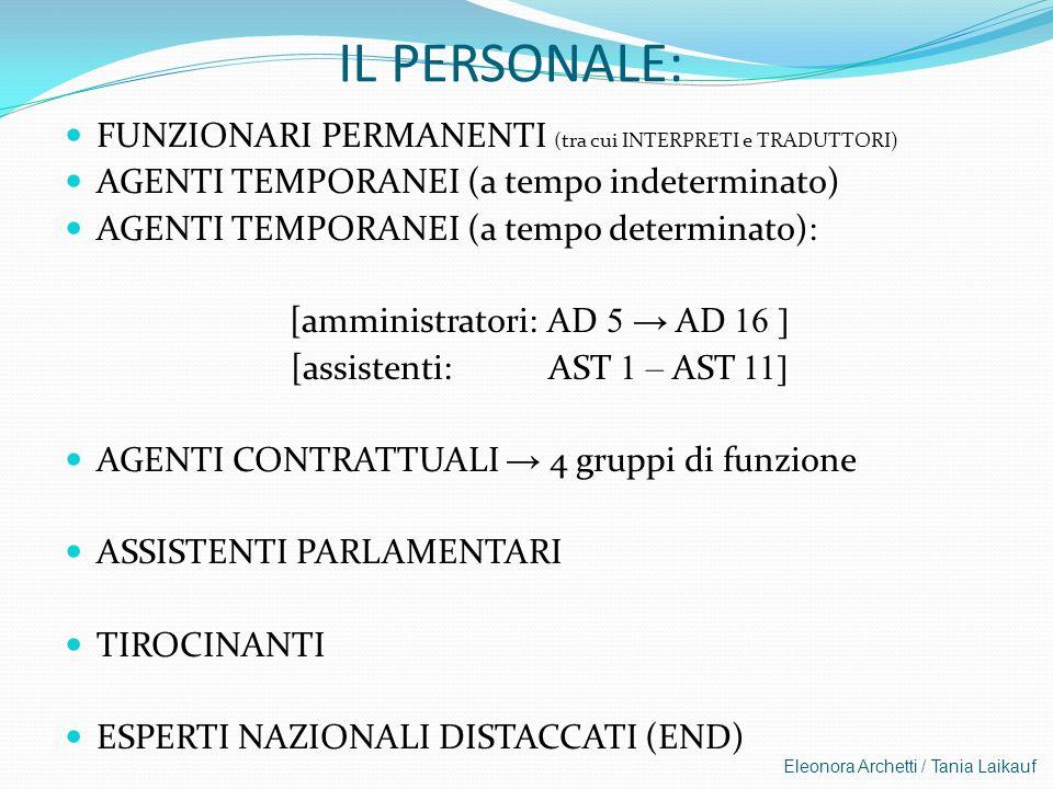 IL PERSONALE: FUNZIONARI PERMANENTI (tra cui INTERPRETI e TRADUTTORI)