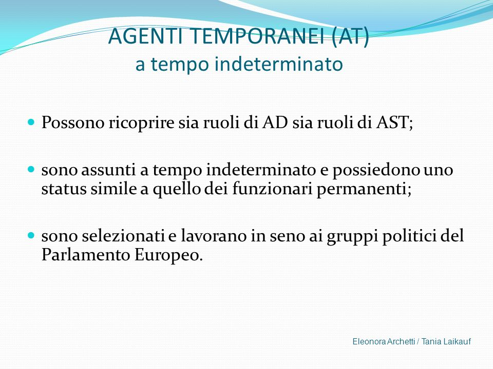 AGENTI TEMPORANEI (AT) a tempo indeterminato