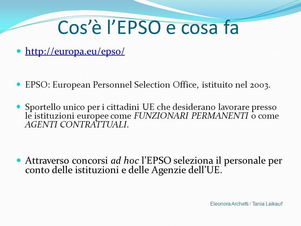 Le istituzioni europee ppt scaricare - European personnel selection office epso ...