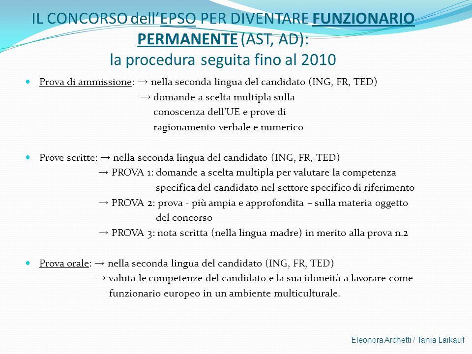 IL CONCORSO dell'EPSO PER DIVENTARE FUNZIONARIO PERMANENTE (AST, AD): la procedura seguita fino al 2010