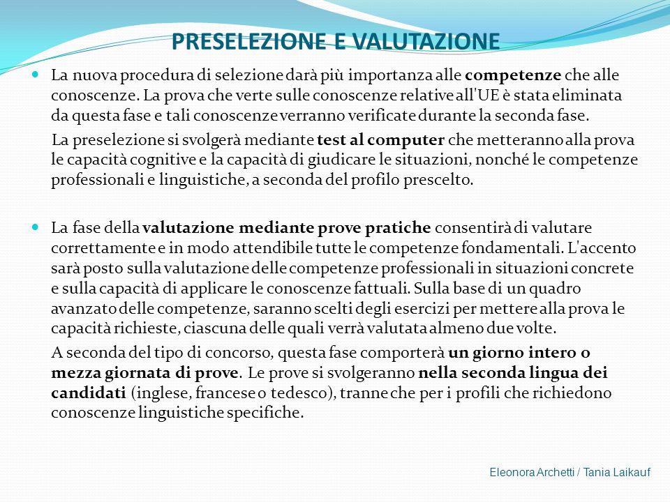 PRESELEZIONE E VALUTAZIONE