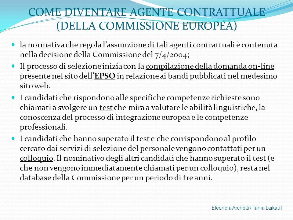 COME DIVENTARE AGENTE CONTRATTUALE (DELLA COMMISSIONE EUROPEA)