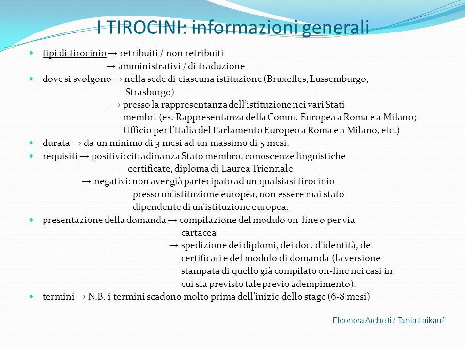 I TIROCINI: informazioni generali