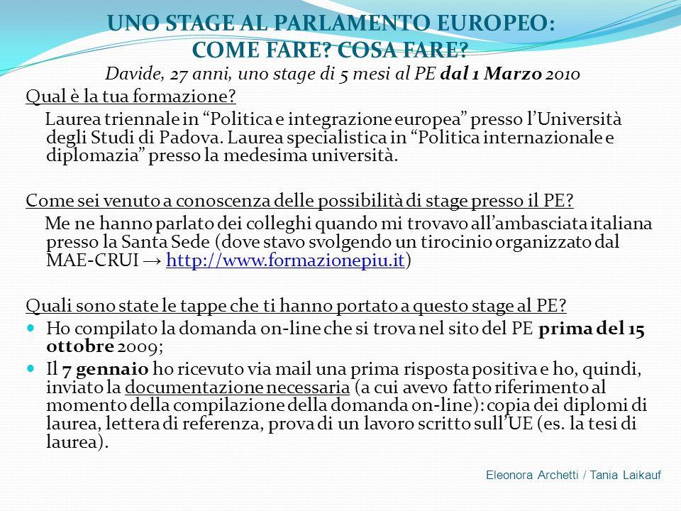UNO STAGE AL PARLAMENTO EUROPEO: COME FARE COSA FARE