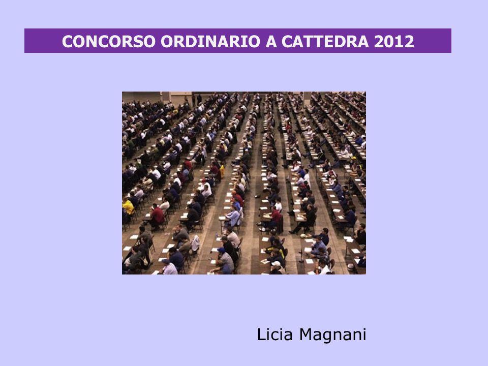 CONCORSO ORDINARIO A CATTEDRA 2012