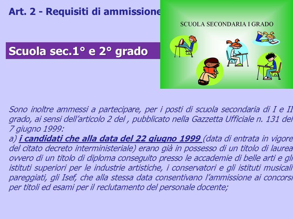 Scuola sec.1° e 2° grado Art. 2 - Requisiti di ammissione