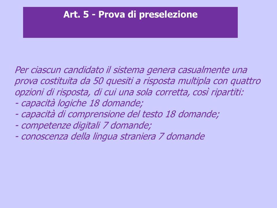 Art. 5 - Prova di preselezione