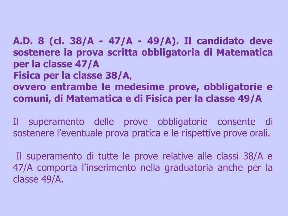 A.D. 8 (cl. 38/A - 47/A - 49/A). Il candidato deve sostenere la prova scritta obbligatoria di Matematica per la classe 47/A
