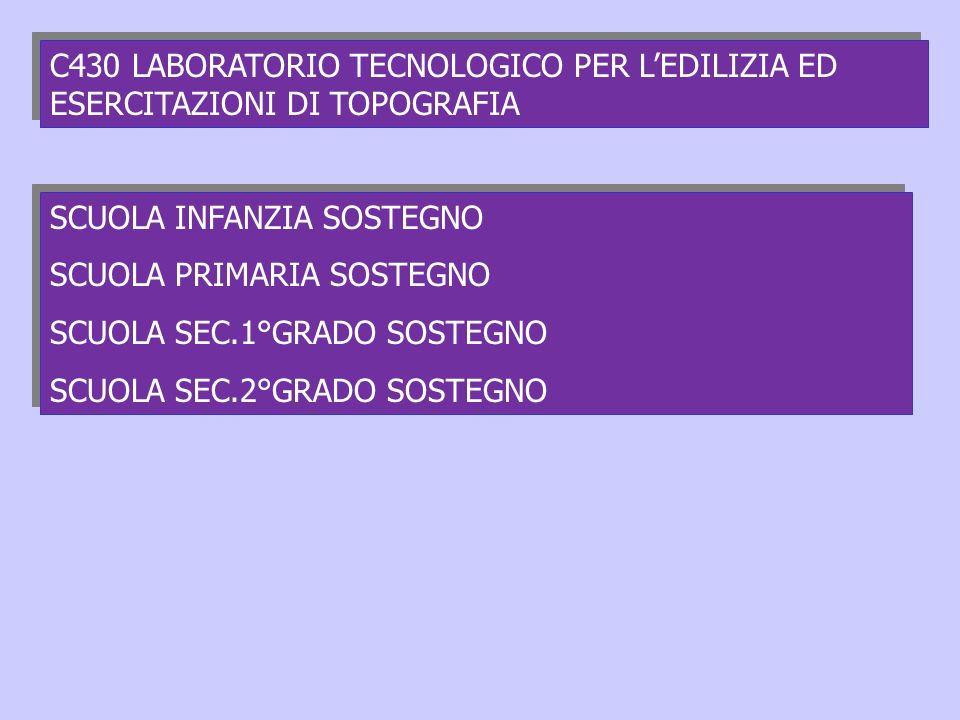 C430 LABORATORIO TECNOLOGICO PER L'EDILIZIA ED ESERCITAZIONI DI TOPOGRAFIA