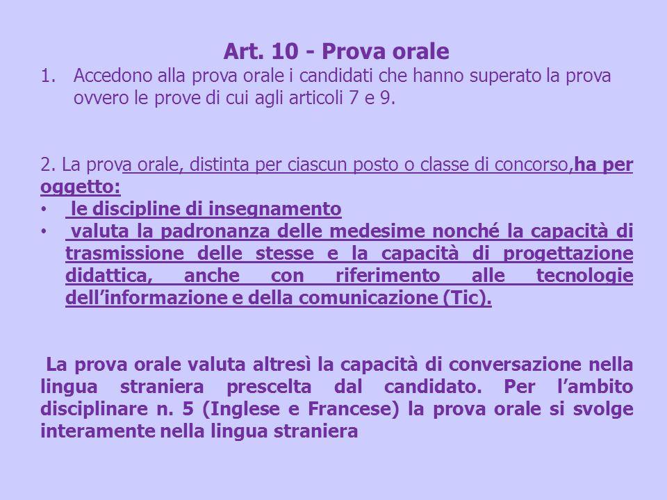 Art. 10 - Prova orale Accedono alla prova orale i candidati che hanno superato la prova ovvero le prove di cui agli articoli 7 e 9.