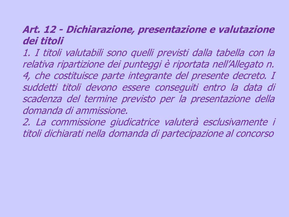 Art. 12 - Dichiarazione, presentazione e valutazione dei titoli