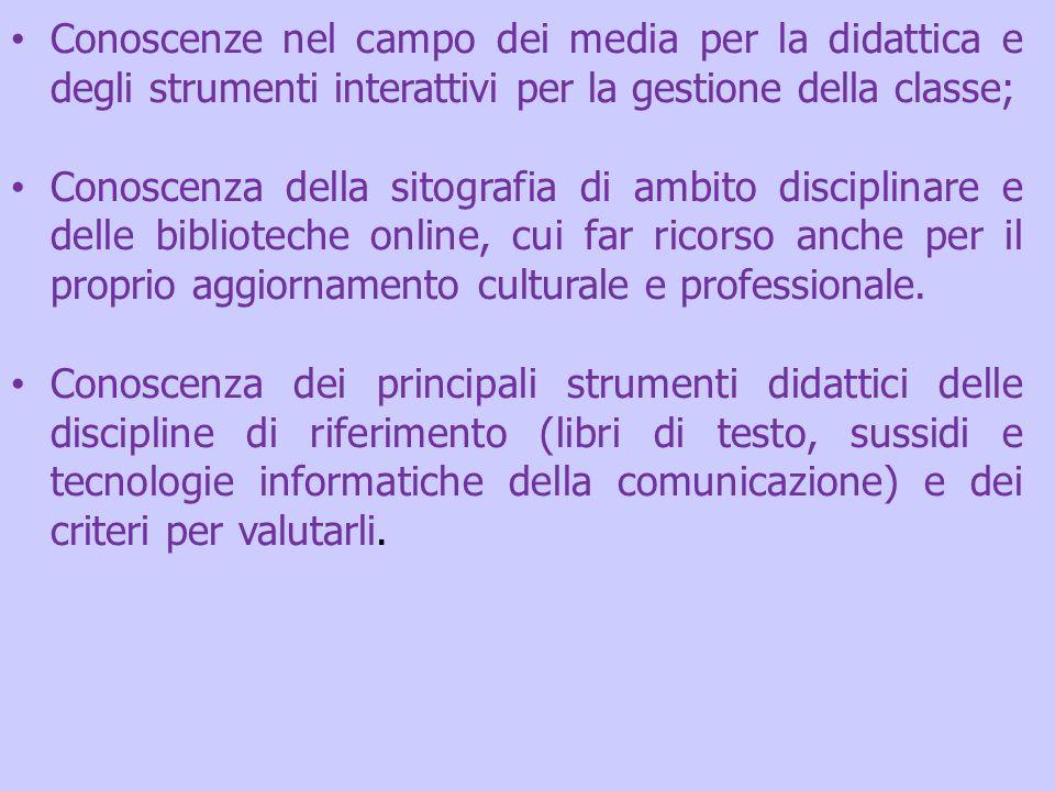 Conoscenze nel campo dei media per la didattica e degli strumenti interattivi per la gestione della classe;
