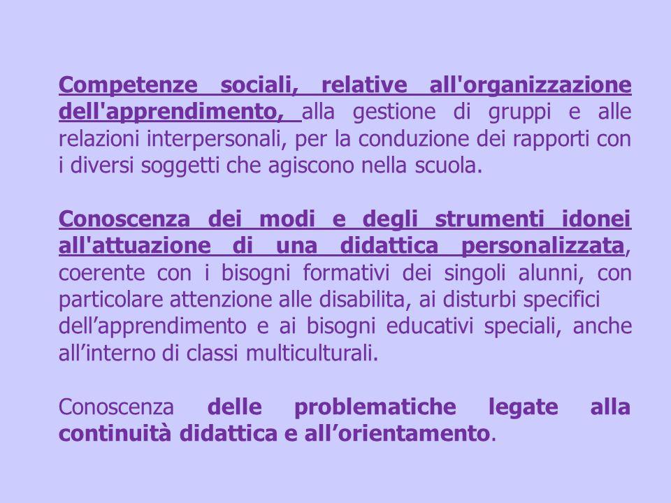 Competenze sociali, relative all organizzazione dell apprendimento, alla gestione di gruppi e alle relazioni interpersonali, per la conduzione dei rapporti con i diversi soggetti che agiscono nella scuola.