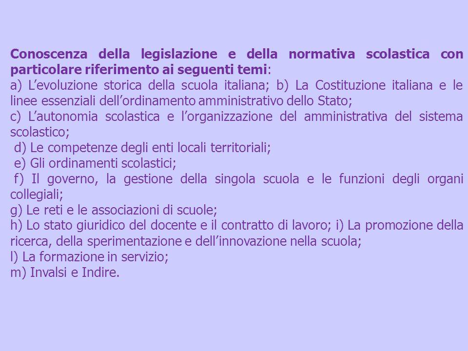 Conoscenza della legislazione e della normativa scolastica con particolare riferimento ai seguenti temi: